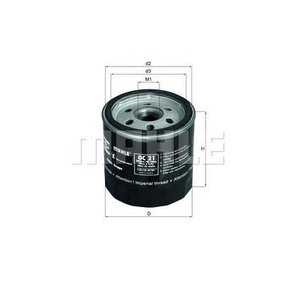 Фильтр масляный для opel kadet mahle (knecht) oc90 (опель кадет)